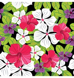 Floral seamless pattern with hibiscus vector image vector image