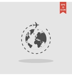 Globe and plane travel icon vector image vector image