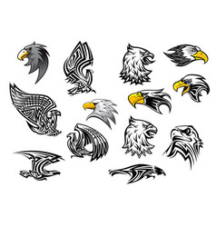 icons eagle hawk bird for mascot or tattoo vector image vector image