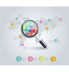 magnifier on a stylized map vector image