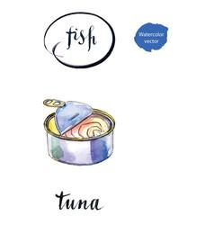 Opened preserve of tuna vector