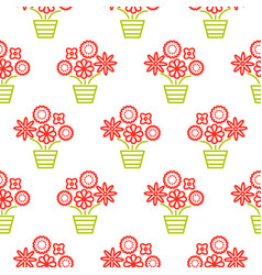 Outline red and green flowers in pots seamless vector