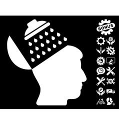 Propaganda brain shower icon with tools vector