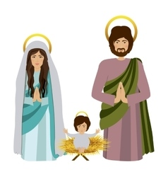 Sacred family with baby jesus kneel vector