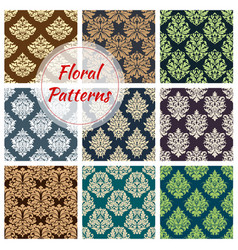seamless floral pattern set with damask ornament vector image vector image