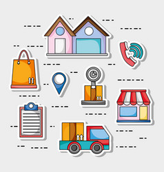 Set delivery shipping business service vector