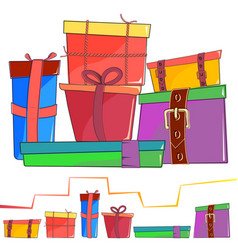 set of colored cartoon gift box vector image