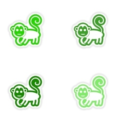 Set paper stickers on white background monkey with vector