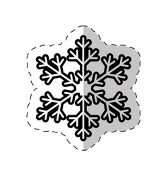 snowflakes winter symbol cut line vector image