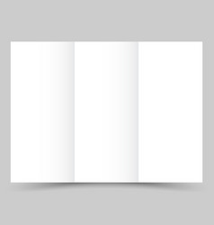 blank white tri fold paper brochure with shadow vector image