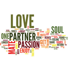 Love is your partner your soul mate text vector