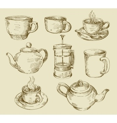 Hand drawn kitchen set vector