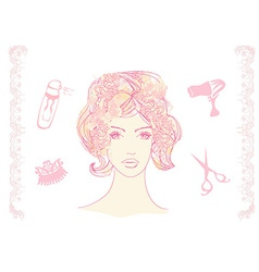 A pretty girl in a hairdresser salon vector