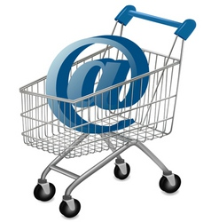 Shopping cart with email vector