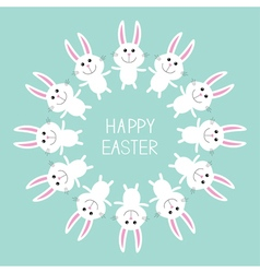 Cute bunny rabbit happy easter round frame flat vector