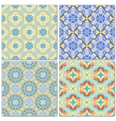 Set of 4 decorative mosaic seamless patterns vector