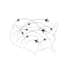 Air routes with black plane icons on usa map vector