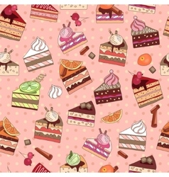 Seamless pattern with fruit cake slices vector