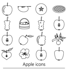 Apple theme black simple outline icons set eps10 vector
