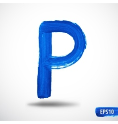 Alphabet letter p watercolor alphabet vector