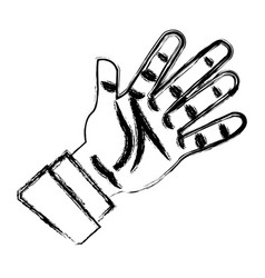 Cartoon hand man business palm open icon vector