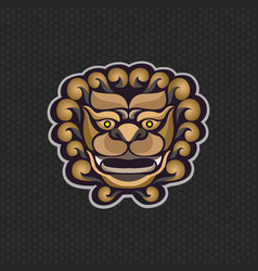 Chinese lion logo design template lion head icon vector