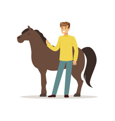 farmer man caring for his horse farming and vector image
