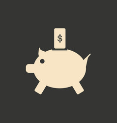 flat in black white piggy bank and the dollar vector image