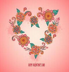 flower heart for love postcard vector image