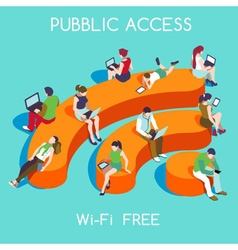 Free WiFi Concept Isometric vector image vector image