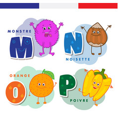 french alphabet monster hazelnuts orange vector image vector image