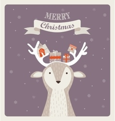 Fun christmas of deer bearing gifts vector
