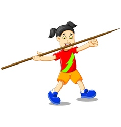 funny girl cartoon playing javelin vector image