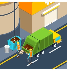 Garbage collection isometric poster vector