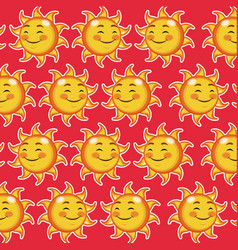 Happy funny sun winked wallpaper pattern cartoon vector