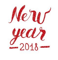 happy new year text with glitter elements vector image vector image