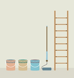 Ladder paint roller and paint buckets home vector
