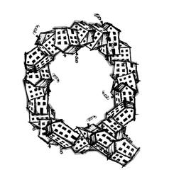 Letter q made from houses alphabet design vector