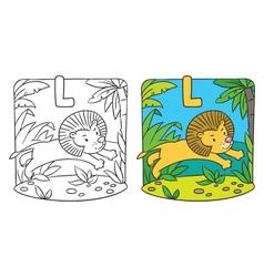 Little lion coloring book alphabet l vector