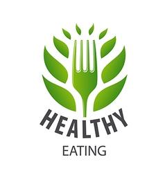 Logo fork and green petals vector