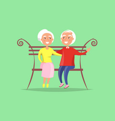 Mature couple sitting on bench together family vector