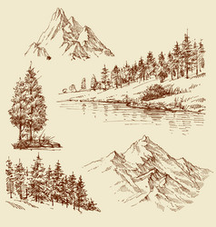 nature design elements mountains trees vector image
