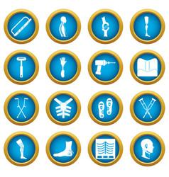 Orthopedics prosthetics icons blue circle set vector