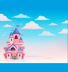 Pink castle in clouds theme 1 vector