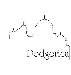 Podgorica city one line drawing background vector