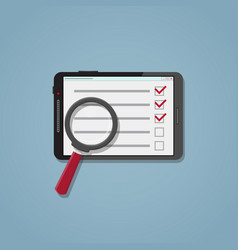 Search checklist on the tablet vector