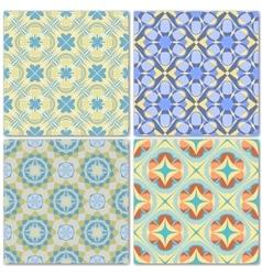 Set of 4 decorative mosaic seamless patterns vector