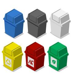 Set of isometric trash bin with symbol in flat vector