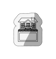 Sticker silhouette small house design with label vector