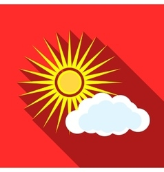 Sun and clouds icon flat style vector image vector image